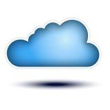 Concetto blu del tasto della nube su priorità bassa bianca Fotografia Stock Libera da Diritti