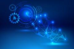 Concetto blu di tecnologia dell'estratto del fondo della mano di clic Immagine Stock