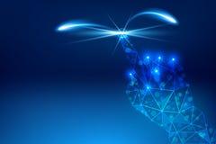 Concetto blu di tecnologia dell'estratto del fondo della mano di clic Immagini Stock