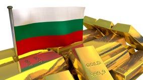 Concetto bulgaro di economia con la verga d'oro Fotografia Stock Libera da Diritti