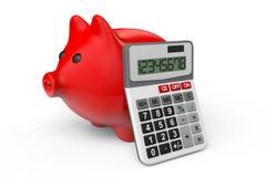 Concetto calcolatore di risparmio. Porcellino salvadanaio con il calcolatore Fotografie Stock