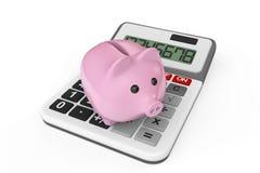 Concetto calcolatore di risparmio. Porcellino salvadanaio con il calcolatore Immagini Stock