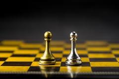 Concetto, capo & successo di affari di scacchi Fotografia Stock