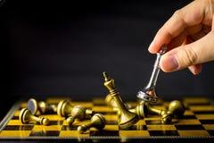 Concetto, capo & successo di affari di scacchi Fotografia Stock Libera da Diritti