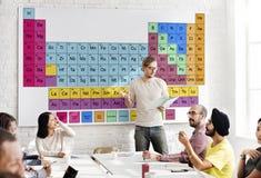 Concetto chimico di Mendeleev di chimica della Tabella periodica Fotografie Stock