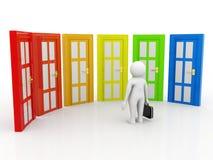 Concetto Choice, gente di affari e porte di affari, dubbiosi Concetto Choice su fondo bianco illustrazione 3D Fotografia Stock Libera da Diritti