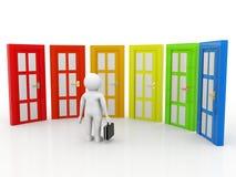 Concetto Choice, gente di affari e porte di affari, dubbiosi Concetto Choice su fondo bianco illustrazione 3D Immagini Stock Libere da Diritti