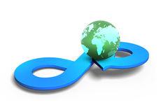 Concetto circolare di economia, rappresentazione 3D Fotografie Stock Libere da Diritti