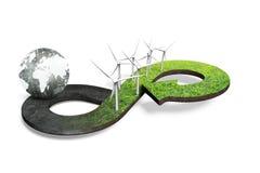 Concetto circolare verde di economia, rappresentazione 3D Fotografia Stock