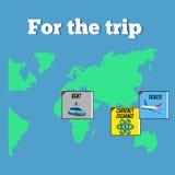 Concetto Colourful di viaggio e di viaggio Mappa di mondo e Immagine Stock