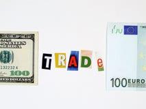 Concetto commerciale degli S.U.A. e dell'Europa Fotografie Stock