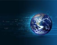 Concetto commovente del mondo blu sui precedenti di tecnologia digitale Immagine Stock