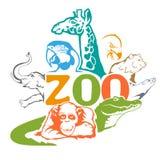 Concetto con gli animali dello zoo Fotografia Stock Libera da Diritti