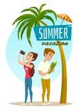 Concetto con i turisti e la palma, manifesto di vacanze estive, illustrazione di vettore del fumetto Fotografie Stock