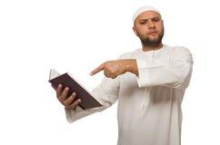 Concetto con l'uomo arabo isolato su bianco Fotografia Stock