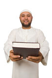 Concetto con l'uomo arabo isolato su bianco Immagine Stock