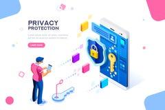 Concetto confidenziale dell'insegna di protezione dei dati illustrazione vettoriale