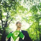 Concetto conservatore di Recycle Ecology Saving dell'uomo d'affari fotografia stock libera da diritti