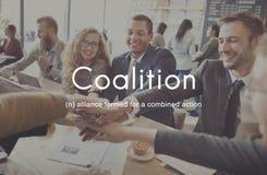 Concetto corporativo del sindacato di Alliance di associazione di coalizione Immagini Stock Libere da Diritti