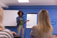 Concetto corporativo di riunione d'affari di seminario dell'altoparlante della donna di colore Fotografia Stock