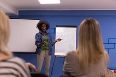 Concetto corporativo di riunione d'affari di seminario dell'altoparlante della donna di colore Immagini Stock Libere da Diritti