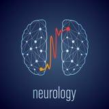 Concetto creativo astratto di neurologia con cervello umano Fotografia Stock Libera da Diritti