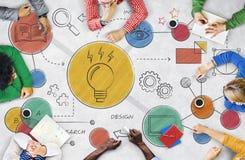 Concetto creativo del diagramma di idee della lampadina immagine stock