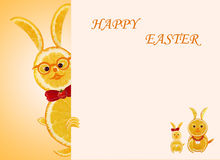 Concetto creativo dell'alimento Piccoli conigli gialli divertenti con il Hap del testo Immagine Stock Libera da Diritti