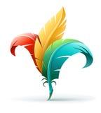 Concetto creativo di arte con le piume di colore Fotografia Stock