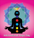 Concetto creativo di giorno internazionale di yoga Fotografia Stock Libera da Diritti