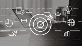 Concetto creativo di idee di missione di visione dell'obiettivo Fotografia Stock