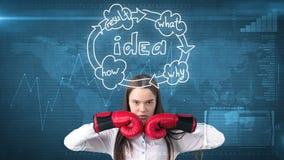 Concetto creativo di idee, donna di affari d'inscatolamento che sta sulla posa di lotta su fondo dipinto vicino all'organigramma  Immagine Stock