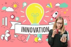 Concetto creativo di invenzione di sviluppo di idee dell'innovazione immagini stock