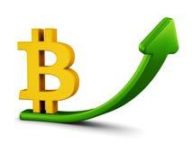 Concetto crescente del grafico del bitcoin Fotografia Stock