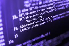 Concetto cyber dello spazio Affare dell'IT Codice di programmazione sul monitor del computer Complessità del server, fondo virtua fotografia stock