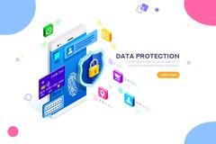 Concetto cyber di autenticazione e di sicurezza royalty illustrazione gratis