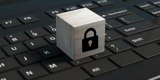 Concetto cyber di obbligazione Fissi un cubo su un computer portatile nero illustrazione 3D Immagini Stock