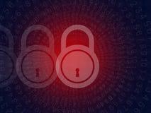 Concetto cyber di sicurezza di crimine su fondo nero Fotografia Stock