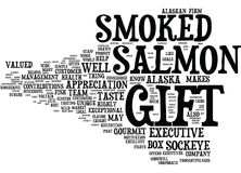 Concetto d'Alasca affumicato gastronomico di Salmon Text Background Word Cloud del regalo esecutivo Fotografie Stock Libere da Diritti