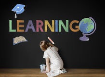 Concetto d'apprendimento accademico del grafico dei bambini della scuola Immagini Stock Libere da Diritti