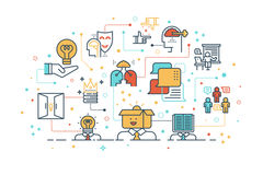 Concetto d'apprendimento e di pensiero creativo Immagine Stock