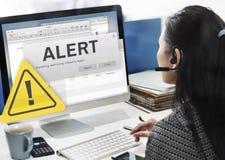 Concetto d'avvertimento interrotto collegamento attento di attenzione Fotografia Stock Libera da Diritti