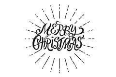 Concetto d'iscrizione disegnato a mano di Natale per la progettazione della cartolina d'auguri di festa, manifesto, insegna, logo fotografia stock