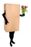 Concetto davanti a bianco: Deliverer del fiore Fotografia Stock