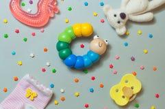 Concetto degli accessori del bambino Fotografia Stock