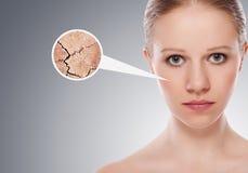 Concetto degli effetti cosmetici, trattamento, cura di pelle Fotografie Stock Libere da Diritti