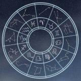 Concetto degli oroscopi e di astrologia Lo zodiaco astrologico firma dentro la c immagini stock
