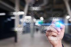 Concetto degli strumenti di sviluppo Web sullo schermo virtuale Linguaggio di programmazione e scritti PHP, SQL, HTML, Java ed al immagini stock libere da diritti