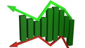 Concetto dei benefici finanziari e delle perdite rappresentati dalle barre verdi che si siedono fra le frecce verdi e rosse immagine stock libera da diritti