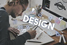Concetto dei grafici di processo di progettazione di creatività Immagine Stock